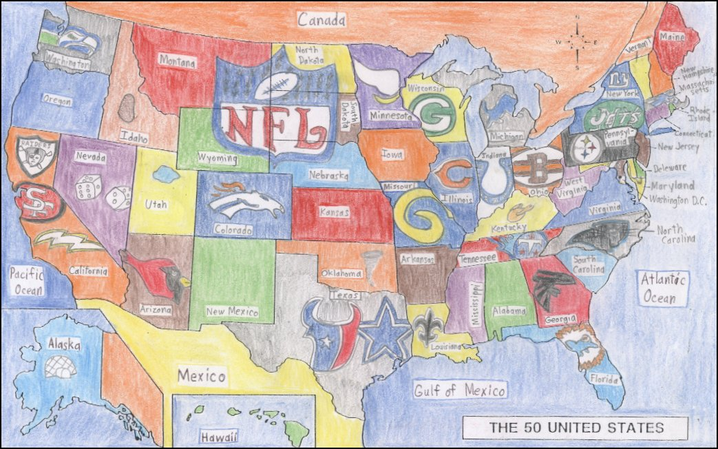 Us Map Of College Football Teams - Nfl team us map